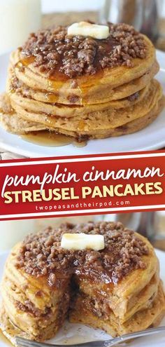 Make fall mornings more special with a mouthwateringly delicious treat! Nothing can be more amazing than a stack of these light and fluffy pumpkin spiced pancakes topped with a cinnamon streusel. Serve with butter and maple syrup for a decadent breakfast! Save this pin!