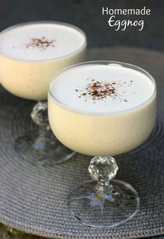 Homemade Eggnog recipe on tastesbetterfroms. This homemade eggnog is good enough for the biggest eggnog snob! It's thick, sweet, creamy and smooth, with the perfect eggnog flavor. Christmas Drinks, Holiday Drinks, Christmas Baking, Christmas Treats, Holiday Treats, Fun Drinks, Yummy Drinks, Holiday Recipes, Yummy Food
