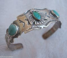 Vintage NAVAJO Harvey Era Sterling Silver Turquoise Cuff Bracelet Thunderbird Design | eBay