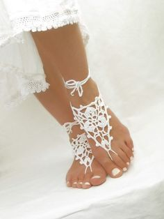 White barefoot wedding sandals Crochet barefoot sandals Bridal anklets Bare foot jewelry Bottomless sandals Footless sandles Soleless shoes by ElvishThings on Etsy https://www.etsy.com/listing/124586973/white-barefoot-wedding-sandals-crochet
