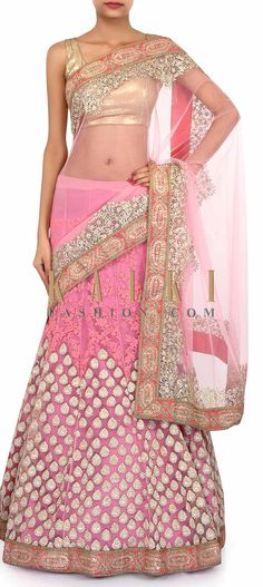 Buy Online from the link below. We ship worldwide (Free Shipping over US$100). Product SKU - 273486. Product Link - http://www.kalkifashion.com/pink-saree-lehenga-adorn-in-thread-and-zari-embroidery-only-on-kalki.html