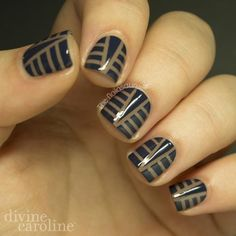 We're still obsessed with art deco designs after watching the Great Gatsby last summer. Try this mani art if you're a fan or the era, too!