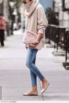 Soft blush, loose fit. Pointy neutral flats.