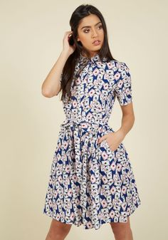 Ace of Smarts Shirt Dress. Play your cards right by sporting this cotton shirt dress - a ModCloth exclusive - and you might just be the most sharply styled gal in town! #blue #modcloth