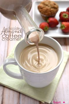 Chocolate Almond Coffee Creamer ~ this all-natural creamer is sweetened with pure maple syrup and flavored with cocoa powder, almond extract, and vanilla extract for a decadent, delicious way to dress up your morning cup 'o joe! | FiveHeartHome.com
