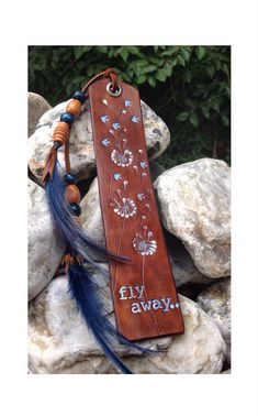 Gorgeous Leather Bookmark  Dandelions 'fly away  by GratifyDesign, $23.00