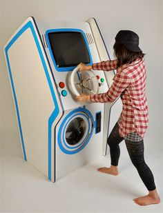 Arcade Washing Machine - Just like in the arcade, user will have to insert more coins and try again. Failure to progress beyond certain gaming level will stop the washing cycle. #tech #washmachine #videogames