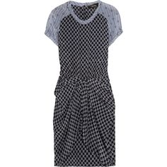 Isabel Marant Marine printed silk-crepe dress ($530) ❤ liked on Polyvore featuring dresses, clothes - dress, elastic waist dress, slit dress, lavender dress, silk crepe dress and light purple dress