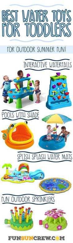 We review the best outdoor water toys for toddlers this summer.  These toddler water toys spark the imagination with interactive learning and hours of fun. - Learn more at https://funsuncrew.com