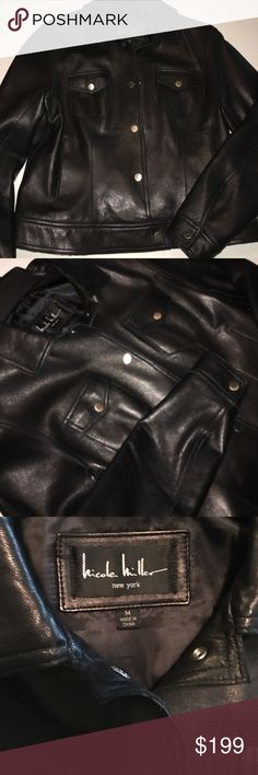 Gorgeous Nicole Miller Leather Coat New, Soft Black Leather, Size M, Silver Hardware Nicole Miller Jackets & Coats