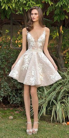 short v neck wedding dresses via emanuel brides / / http://www.himisspuff.com/rehearsal-dinner-short-wedding-dresses/