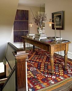 Bold flat woven rug