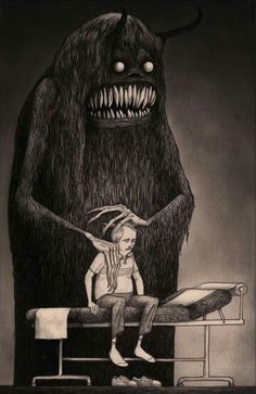 (1) This work is by John Kenn Mortensen. (2) The intent of this work is to give a tangible representation of depression. (3) The dark figure is behind the man, yet he dominates the whole of the piece. The lack of color helps convey to the viewer a sense of sadness, and depiction of depression as a monster, its teeth wide, explains the pain on the man's face. (4) The theme of the work is depression.