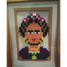 Frida Kahlo perler beads by mittsknits