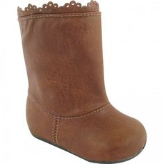 Toddler Girls Brown Textured Boots by Baby Deer, Sizes 6-7