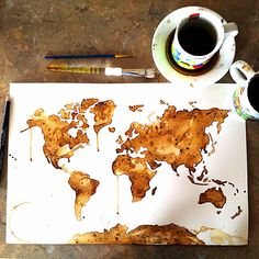 Who likes coffee!? Painting made with coffee! Coffee painting coffee art Starbucks world map   To view more work visit my site www.facebook.com/meltingmiltons