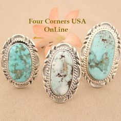 Large Dry Creek Turquoise Rings Four Corners USA OnLine Native American Indian Silver Jewelry http://stores.fourcornersusaonline.com/dry-creek-rings/