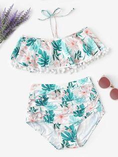 Shop Random Tropical Pom-pom Trim Top With Ruched Bikini online. ROMWE offers Random Tropical Pom-pom Trim Top With Ruched Bikini & more to fit your fashionable needs. Surf Bikini, Bikini Swimwear, Bikini Set, Bikini Tops, Romwe Swimwear, Retro Swimwear, Bustier Bikini, Flounce Bikini, Bikini Dress