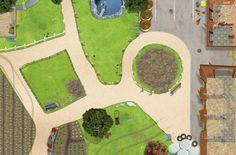 Bauernhof / Reiterhof Spielmatte / Spielteppich für das Kinderzimmer - Maße: ca. 150 x 100 cm - Zubehör passend für Schleich, Papo, Bullyland etc.