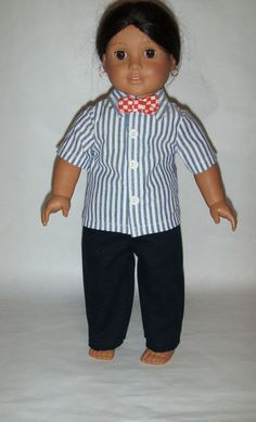 Doll Clothes-Navy//Red//Blue//Green Striped Short Sleeve Shirt /& Navy Pants