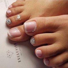 Laundry room design New french pedicure designs toenails glitter nailart 54 Ideas Wedding Dress Perf Wedding Toe Nails, Wedding Toes, Bridal Nails, Summer Wedding, Bridal Pedicure, Pretty Toe Nails, Cute Toe Nails, My Nails, Gems On Nails