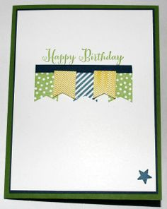 Banner Blast Birthday Banner Blast, Remembering Your Birthday Paper: Gumball Green White, Midnight Muse CS Paper Size: Ink: Gumball Freen, Summer Starfruit, Midnight Muse Accessories: Banner Punch Scrapbooking, Scrapbook Cards, Cute Cards, Diy Cards, Birthday Cards For Men, Masculine Cards, Creative Cards, Greeting Cards Handmade, Homemade Cards