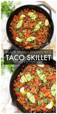 This Black Bean Brown Rice Vegan Taco Skillet is a super easy dinner or make ahe. This Black Bean Brown Rice Vegan Taco Skillet is a super easy dinner or make ahead lunch – serve Vegan Dinner Recipes, Whole Food Recipes, Vegetarian Recipes, Cooking Recipes, Vegan Brown Rice Recipes, Vegan Vegetarian, Vegan Bean Recipes, Vegan Mexican Recipes, Ham Recipes