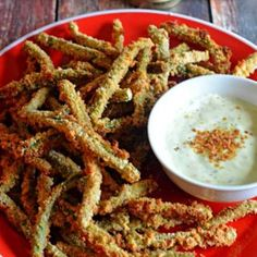 Baked Green Bean Fries with Sriracha Salt & Light Wasabi Ranch Dip. Crispy, tasty, & guilt-free. You're going to love these as an appetizer or side dish!