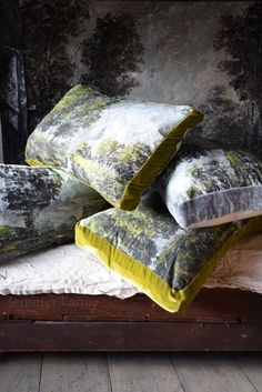 Landscape pillows with velvet boxed edged. Jennifer Lanne Art At Home Collection