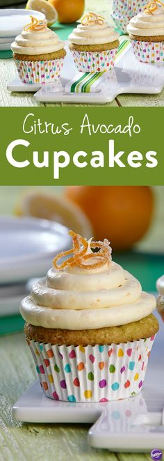 Citrus Avocado Cupcakes Recipe - Adding avocado to your favorite foods always makes it tastes better, especially when that food comes in cupcake form. The savory Citrus Avocado cupcakes are a definite win for your taste buds. A sweet buttercream & orange topping flawlessly complements this cupcake's rich avocado texture, and lemon, lime and orange citrus notes for a mouthful of awesomeness every time.