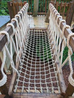 22 Backyard Rope Bridge Backyard Rope Bridge - This backyard fort is only accessable by this custom A Rope Bridge entrance from the lawn into the treehouse Pallet Rope Bridge. Kids Backyard Playground, Backyard Playset, Backyard For Kids, Backyard Fort, Backyard Playhouse, Playground Design, Backyard Ideas, Garden Ideas, Cubby Houses
