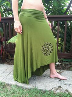This skirt is made from green stretch knit. It is super comfortable, just like wearing pajamas. Perfect for the beach, festival, lounge, really anywhere you go. I also appliqued the Flower of life Sacred Geometry symbol on the front.  I could make this in almost any color/size that you wish. If interested in purchasing please just write in the notes during the purchase what size you would like as well as any color preferences.