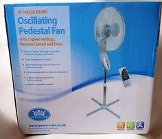 "REMOTE CONTROL 3 SPEED 16"" Electric Oscillating Fan Adjustable Standing Pedestal #benross"