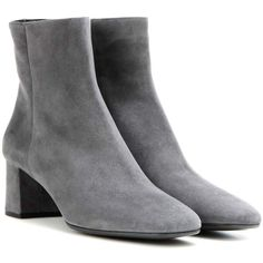 Prada Suede Ankle Boots ($780) ❤ liked on Polyvore featuring shoes, boots, ankle booties, grey, suede ankle booties, gray suede boots, suede boots, grey booties and gray booties