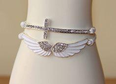 white cross angles wings bracelet diamond glazed bracelet bridesmaid gift love gift girlfriend gift anniversary gift