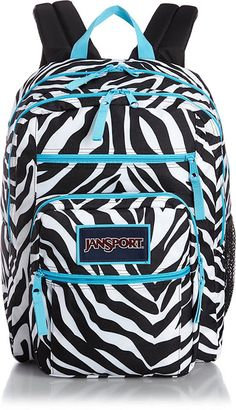 81588c6fd4 JanSport Big Student Classics Series Backpack - MISS ZEBRA   MAMMOTH BLUE.  padded back panel. Front utility pocket with organizer. One large main ...