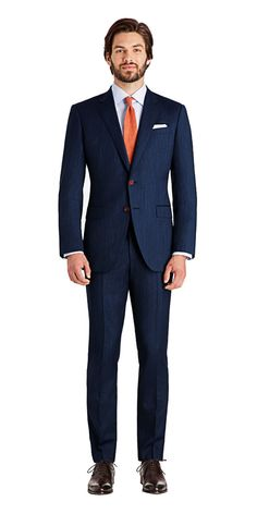 Get this subtly textured Rivington dusk blue suit made to your exact measurements and customized exactly the way you want it. Blue Suit Brown Shoes, Dark Blue Suit, Black Suit Men, Mens Fashion Suits, Mens Suits, Man Fashion, Best Designer Suits, Suit Combinations, Suit Shoes