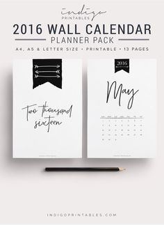 Stylish Wall Calendar 2016 Calendar Printable by IndigoPrintables