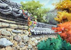 남일 수채화 Gallery Landscape Drawings, Canvas Paper, Traditional House, Asian Art, Painting Inspiration, Watercolor Paintings, Texture, Gallery, Artist