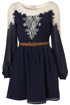 lace, navy, belt, flowy long sleeves, so classy