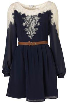lace, navy, belt, flowy long sleeves, so classy