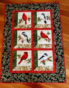 Cardinals and Chickadees Winter Birds Quilted by thebeadedpillow