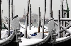 snowy gondolas