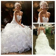 Wholesale Wedding Dresses - Buy Utterly Dreamy White Organza Sweetheart Full Lengtn Ball Wedding Gowns And Bridal Dress, $283.08   DHgate