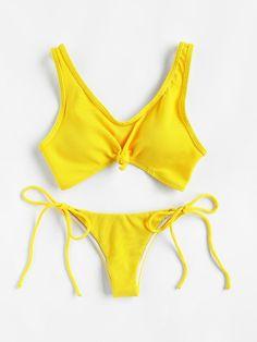 ¡Cómpralo ya!. Knot Front Side Tie Ribbed Bikini Set. Yellow Bikinis Sexy Vacation Push Up Nylon/Spandex YES Swimwear. , bikini, bikini, biquini, conjuntosdebikinis, twopiece, bikini, bikini, bikini, bikini, bikinis. Bikini  de mujer   de SheIn.