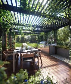 These free pergola plans will help you build that much needed structure in your backyard to give you shade, cover your hot tub, or simply define an outdoor space into something special. Building a pergola can be a simple to… Continue Reading → Outdoor Dining Chairs, Outdoor Rooms, Outdoor Gardens, Dining Area, Outdoor Kitchens, Dining Room, Bbq Outdoor Area, Outdoor Island, Patio Table