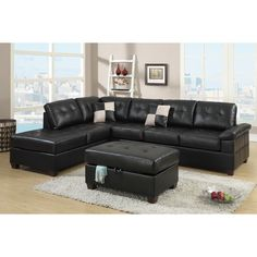 Add lush contemporary styling to your home decor with this Madan sectional sofa, upholstered in soft black bonded leather with two matching pillows. Button tufting and subtle texture add visual interest to create a truly stunning piece.