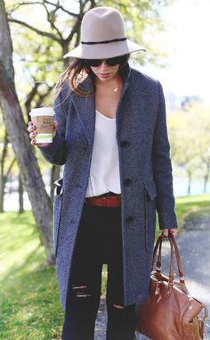 Joe Fresh tweed coat, denim & Brooklyn Designs necklace via To Vogue Or Bust fashion blog.