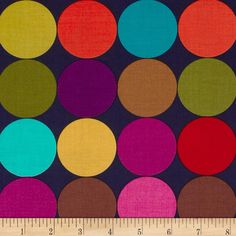 Michael Miller Disco Dot Jewel from @fabricdotcom  From Michael Miller, this cotton print is perfect for quilting, apparel and home decor accents.  Colors include navy, aqua, gold, sienna, red, purple and orange.