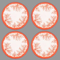 "Imagine the looks on the faces of your guests when they see your outdoor table set with these beautiful coral plates! Fab.com | Coral Plate 12"" Red Set Of 4"